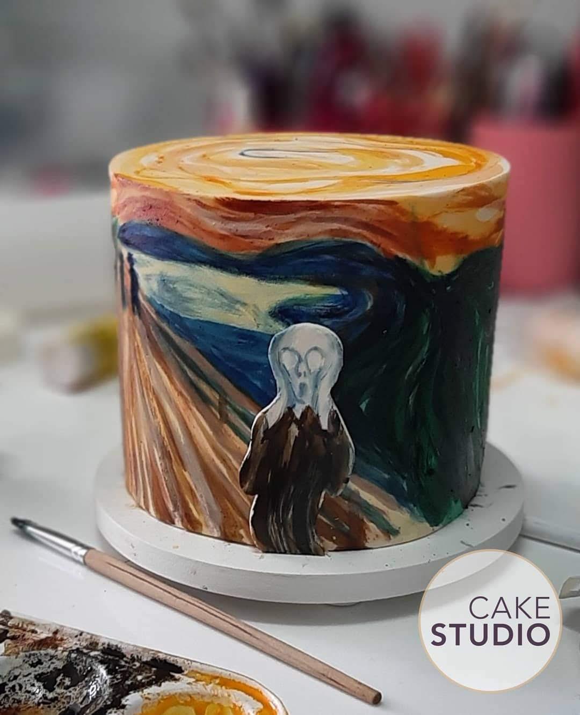 Bolo O Grito de Edvard Munch feito por Cake Studio ( contato@cakestudio.com.br | Whatsapp: (11) 96882-2623 ).